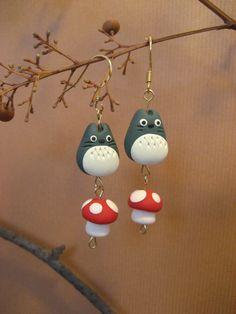 totoro earrings with mushroom by mulanjade on Etsy