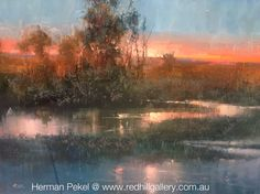 "Herman Pekel Impressionist Oil Painting ""Sunset Reflections"" 121x90cm Red Hill Gallery, Brisbane. redhillgallery.com.au"