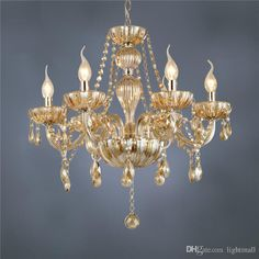 Freies Verschiffen DHL 6 Arm Kronleuchter Moderne Kristall Lampe Kristall  Kronleuchter Licht Luxus Cognac Wohnzimmer Kronleuchter Beleuchtung