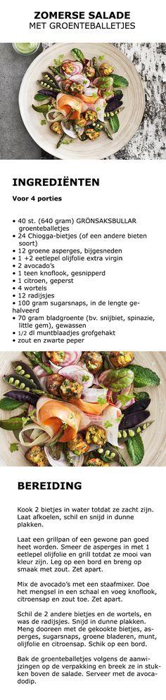 Inspiratie voor Wereld Vegetarisme Dag - Zomerse salade met groenteballetjes | #inspiratie #koken #keuken #salade #groente #groenteballetjes #vega #vegetarisch #bietjes #asperges #avocado #wortel #radijs