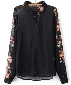 Blusa combinada floral solapa manga larga-Negro EUR€21.04