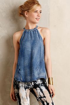 Love this look.  Love Chambray.  Love ANYTHING with a halter style neckline. Chambray Halter Tank #anthropologie