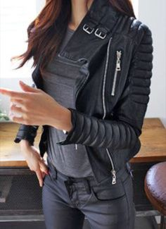 """Genuine Sheepskin Blazer - Create a chic """"badass"""" look in this black PU quilted biker jacket. It features padded shoulders and cool oblique zipper. Looks Style, Looks Cool, Mode Outfits, Fall Outfits, Leather Jacket Outfits, Biker Jacket Outfit Women, Leather Biker Jackets, Biker Chick Outfit, Motorcycle Outfit"""