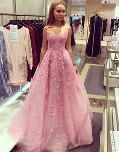 Charming Prom Dress,Long Homecoming Dress, Appliques Tulle Prom