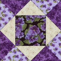 Debbie Beaves Lovely Purple Black Cream Floral Pansy Fabric Quilt Block KIT CUT | eBay