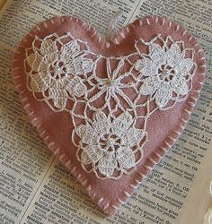 Wool hanging ornament/  doily on pink heart by HittyHatty on Etsy