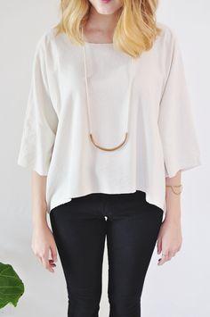 Horizon Raw Silk Top in Cream