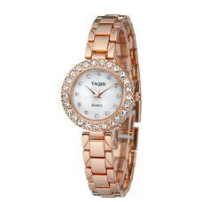 ce58ecd9e3c Fashion crystal quartz wristwatch female rose gold and silver luxury brand  good quality relogio feminino free