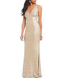 d6baa70212a Dress the Population Harper Plunging V-Neck Sequin Gown Dress The  Population