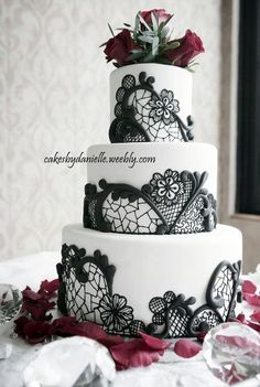 Black, Red & White Wedding - by CBD @ CakesDecor.com - cake decorating website