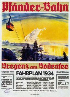Pfänder-Bahn. Bregenz am Bodensee. 1934. B. Kleber.