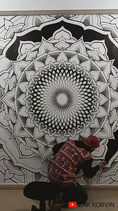 Mandala Artwork, Mandala Painting, Mandala Drawing, Sacred Geometry Patterns, Sacred Geometry Art, Mandala Doodle, Wall Drawing, Mural Wall Art, Wow Art