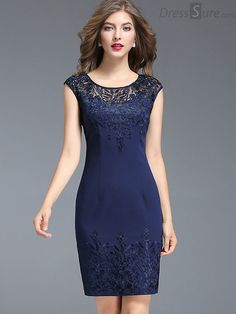 Buy Chic O-Neck Embroidery Mesh Stitching Bodycon Dress at DressSure.com Color:Blue; Size:L, XL, 2XL, 3XL; Material:Polyester; Style:Party; Silhouette:Sheath Dresses; Dresses Length:Above Knee, Mini; Sleeve Length:Short Sleeve; Neckline:O-Neck; Waistline:Empire; Decoration:Embroidery; Pattern Type:Solid; Characteristics:None; Season:Summer; Price: US$ 87.49