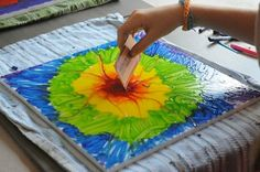 Crayon painting- beautiful, easy, fast, and a great way to use up some of those buckets full of crayons. Crayon art projects.