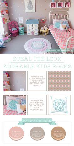 Cutting Edge Stencils shares a Polka Dot Stenciled girls room. http://www.cuttingedgestencils.com/polka-dots-stencils-nursery.html