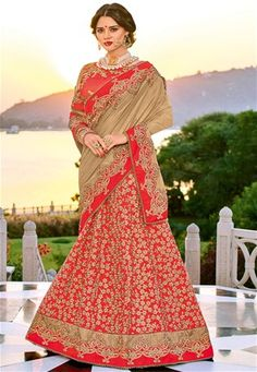Revamp your wardrobe and get classier outfits like this gorgeous wedding wear beige and orange color lycra and silk lehenga style saree by Indian Women. Lehenga Style Saree, Party Wear Lehenga, Silk Lehenga, Silk Sarees, Orange Lehenga, Bridal Sari, Saree Wedding, Wedding Wear, Wedding Dresses