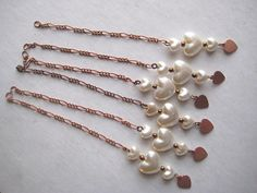6 Vintage Pearlized Heart Drops by StarPower99 on Etsy, $2.80