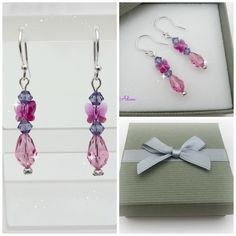 Pink Butterfly Earrings with Swarovski™ Sterling Silver £6.95