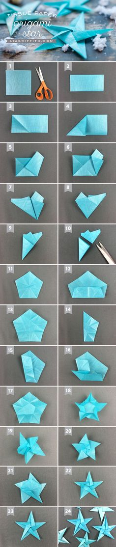 Tissue Star Origami Christmas Ornaments Make origami Christmas ornaments using our step by step photo tutorial as you fold! Place your origami stars on your Christmas tree branches or mantel Origami Diy, Origami Stars, Origami Tutorial, Origami Paper, Diy Paper, Paper Crafting, Fabric Origami, Origami Ideas, Origami Butterfly