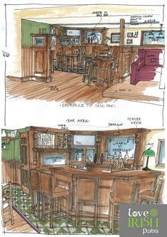 Irish Pub Home Bar Sketch by Love Irish Pubs.Love your Pub! Irish Pub Decor, Pub Interior, Interior Sketch, Interior Doors, Interior Design, Ireland Pubs, Bar Deco, Brook House, Pub Sheds