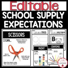 Teach students the expectations for using school supplies in your classroom from pencils and crayons to play dough and dry erase markers. This school supply expectations resource includes editable posters for each school supply along with a corresponding practice page for students to practice using ... Classroom Expectations, Positive Behavior, Play Dough, Dry Erase Markers, Hole Punch, Crayons, Classroom Management, School Supplies, Back To School