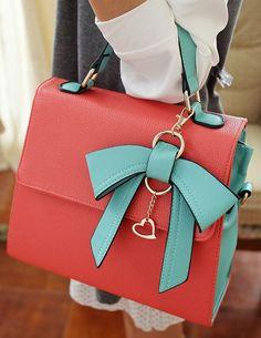 Coral & Mint Commuter Bow Handbag <3 L.O.V.E.