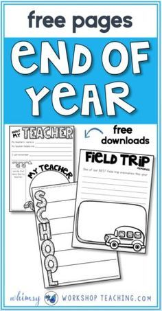 End of year memory books are a great way to end the school year. Lots of writing ideas, literacy practice, and no prep for the teacher at this very busy time of year! (Free download pages)