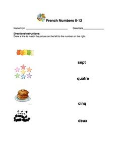French 3 Worksheet Bundle (total Of 5 Worksheet Pages) On Numbers 0