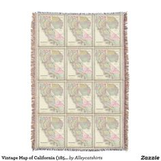 Vintage Map of California (1856) Throw