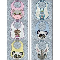 """""""Applique Animal Bibs 8x12"""" These cute #MachineApplique bibs are sew adorable, you'll love using them with your little one during meal time, or stitching and gifting them for a baby shower!"""