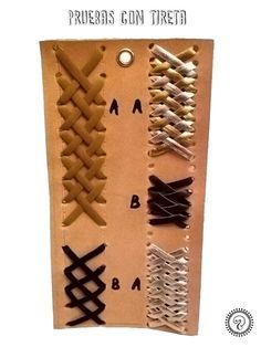 Pruebas de costurias con tireta en cuero. Leather lacing. Central lacing…