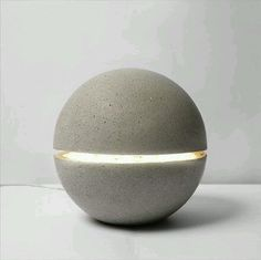 Lampe Gayalux Lamp By Xiral Segard: Concrete lamp. You could make this with an exercise ball, cardboard tube, sand and lamp parts. It would be heavy, but how cool is this lamp? Beton Design, Luminaire Design, Concrete Design, Home Lighting, Outdoor Lighting, Lighting Design, Lighting Ideas, Concrete Light, Concrete Lamp