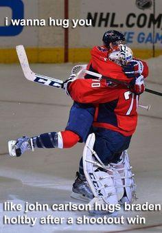 John Carlson and Braden Holtby Caps Hockey, Hockey Memes, Hockey Quotes, Hockey Goalie, Field Hockey, Ice Hockey, Funny Hockey, Sports Memes, Goalie Quotes