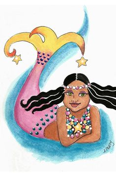 """Mermaid Star Child"" by Audrey Peaty #mermaids #blackmermaids"