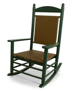POLYWOOD Jefferson Teak Wicker Plastic Rocking Chair(s) with Woven Seat at Lowe's. This traditional rocker, with its unique detailing, is further enhanced with a woven seat and back. POLYWOOD furniture is constructed of solid POLYWOOD Plastic Rocking Chair, Outdoor Rocking Chairs, Patio Chairs, Adirondack Chairs, Beach Chairs, Thing 1, Rockers, Teak, Recycling