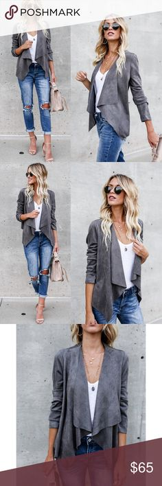 """Charcoal Faux Suede Waterfall Jacket Charcoal Faux Suede Waterfall Jacket A gorgeous faux suede jacket that is perfect in a soft stretchy feel.    Draped Lapels Stretch in Wear Not Lined 55% Cotton and 45% Polyester Model is 5'7"""" and wears a Small Glamvault Jackets & Coats"""
