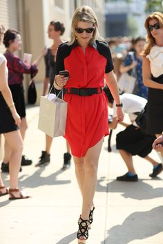 A poppy-red livened up this simple silhouette — as did a pair of cutout heels. Source: Greg Kessler