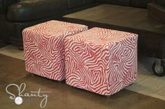 DIY Cube Ottoman Slipcover - easy way to give that old ottoman a new look!