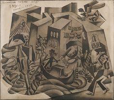 Fortunato Depero | Riesumazioni veneziane (1926) | Artsy Cubism, Artsy, Auction, Museum, Gallery, Artwork, Painting, Fictional Characters, Work Of Art