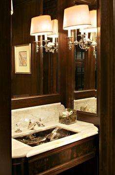 Bathroom Sconces Toronto powder room. dark walls. sconces. #alexmouldings, #powderroom