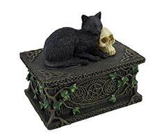 Black Cat Cuddles With Skull Treasure Box