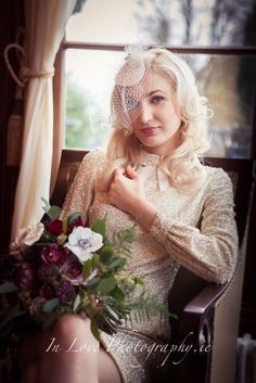 Stunning model wearing headpiece by rosemary keating - one fab day, glitzy and glam, dress vintage nearly 100 years old Girls Dresses, Flower Girl Dresses, Headpiece, Vintage Dresses, Photoshoot, Wedding Dresses, Bespoke, Model, How To Wear