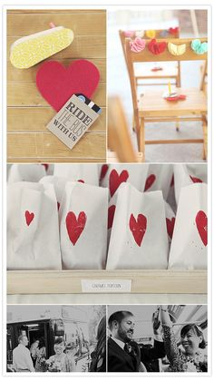DIY felt heart pins, noise makers, and bus fare