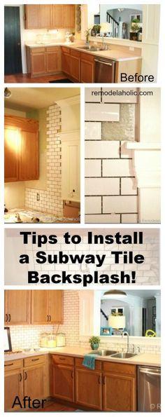 how to install subway tile backsplash (using mini tile sheets from