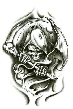 "Grim Reaper Wraith Temporary Body Art Tattoos 2.5"" x 3.5"""