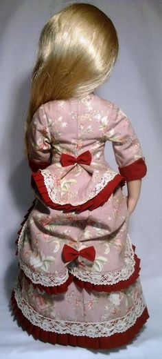Victorian late 1800 A Girl for all time doll pink bustle dress Cotton Lace, Cotton Fabric, Bustle Skirt, Lawn Fabric, Fitted Bodice, Beautiful Roses, American Girl, All About Time, Floral Prints