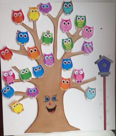 640 × 751 pixels Source by Preschool Classroom Themes, Owl Theme Classroom, Preschool Crafts, Nursery Class Decoration, Art For Kids, Crafts For Kids, Birthday Wall, Birthday Charts, School Decorations