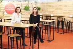 Concha y Concha en Fòrum Gastronòmic Barcelona con nuestros taburetes apilables de forja y madera modelo Atocha.  http://www.fustaiferro.com/index.php