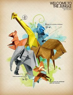 Welcome to the jungle 2, Collage origami by Javier Piragauta