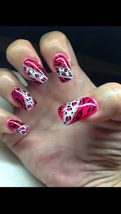My nails done with gel and hand drawn design using gel By Melissa Fox